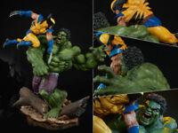 Incredible Hulk Vs Wolverine Sideshow Battle Scene PVC Figurine Statue 36cm