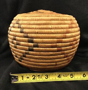 Hooper Bay Yupik Eskimo Intuit woven coiled grass basket Native American Indian