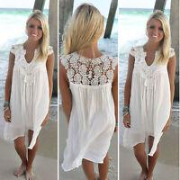 Strand Kleid Negligee Nachthemd Minikleid Spitze Tunika Chiffon weiß rosa BC345