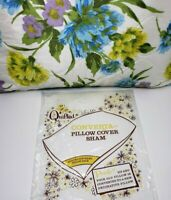 "Vintage Quilted Satin Floral Zippered Pillow Sham NIP UNUSED 20"" X 26"""