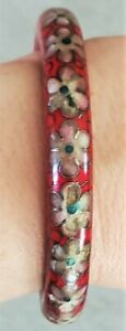 "Antique/VTG Red Cloisonne Bracelet Floral Inlaid Enamel Chinese Bangle 1/2"" Wide"