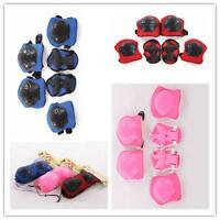 Kids Children 6pcs Roller Skating Knee Elbow Wrist Protective Pad Gear gift F