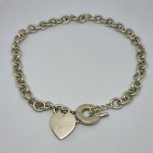 Vintage Silver Return To Tiffany & Co Heart Tag Toggle Necklace Choker