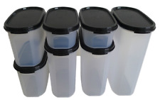 Tupperware Modular Mates Oval Combination Size Set of 7 Clear Base Black Lids