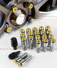20 Pcs M14 X 1.5 Chrome Wheel Lug Nut Bolts W/ Gold Lock Caps+Key+Socket For VW