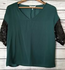 French Conection Womens Blouse Top Size L Sequins Sleeves Green/black D1
