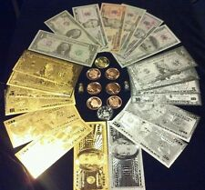 <HUGE SET>COLLECTIBLE COINS + $1-$100 GOLD/SILVER& Paper Rep.*Banknotes + MOREee