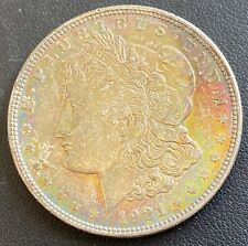 1921 Morgan Silver Dollar Rainbow Toned Obverse Star