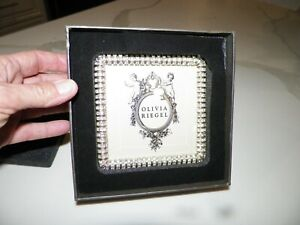"""OLIVIA RIEGEL CRYSTAL PICTURE FRAME WITH BOX 4 1/2"""" x 4 1/2"""""""