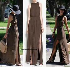 STUNNING ZARA GRECIAN BROWN LONG  MAXI DRESS! EXCLUSIVE ! SIZE SMALL S NEW