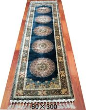 Silk Rug Handmade 2' 6'' X 10' Teal Blue - Yale Blue Traditional Design Rug