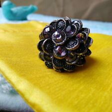 Shape Wome Fashion Smart art Ring Vintage Metal Gray Marcasite Flower