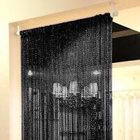 Black String Door Curtain Beads Room Divider Window Panel Tassel Fringe Decor