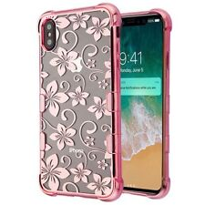 "iPhone XS Max (6.5"") - Hard Rubber Case Cover Rose Gold Clear Hibiscus Flowers"