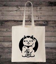Lucky Cat Maneki-neko Cotton Shopping Tote Bag
