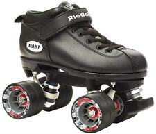 Riedell Dart Vader Quad Roller Derby Speed Skate W/ 2 Pair of Laces Gray & Black Mens 8 / Ladies 9