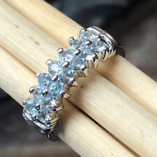 AAA Natural Blue Aquamarine 925 Solid Sterling Silver Half Band Ring sz 8