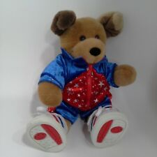 """BABW dog Plush 12"""" Brown tan Red blue stars active athletic clothes Sneakers"""