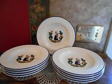 Lot of 6 Varages France Woman in Garden Faience Pottery Soup Cereal Bowls BNOS