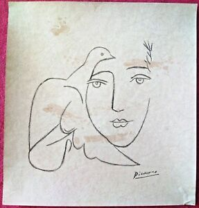 PABLO PICASSO,HANDMADE CHARCOAL DRAWING  ON OLD CARDBOARD,  SIGNED, STAMPED