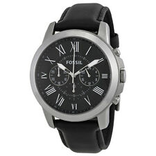 Fossil Grant Black Dial Black Leather Mens Watch FS4812