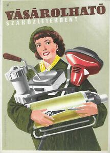 "Original vintage Hungarian advertising tram poster ""Household appliances"""