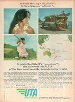 1967 Original Advertising' Vintage Uta French Airlines Company Aerial Tahiti
