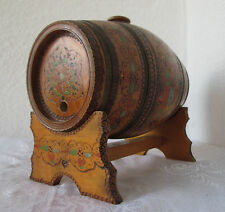 Antique primitive WOODEN FLASK CANTEEN KEG BARREL & stand hand painted pokerwork