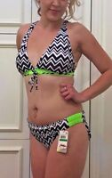Go Gossip Chevron Drawstring Bikini Top Hipster Tab Bottoms SET NWT 12 14 Large