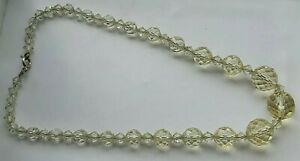 VINTAGE NECKLACE HEAVY FACETED BEADS HALLMARKED 925 STERLING SILVER