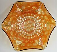 "Antique Fenton Carnival Glass 9 1/4"" Coin Dot Ruffled Bowl Iridescent Marigold"