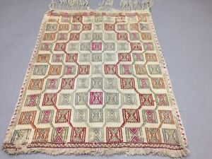 Antique Turkish Moroccan Kilim Rug shabby vintage old wool Kelim 115x90cm small