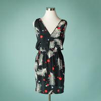 Charlie Jade XS Black Dress Silk Feather Polka Dot Print Graphic Slip Sleeveless