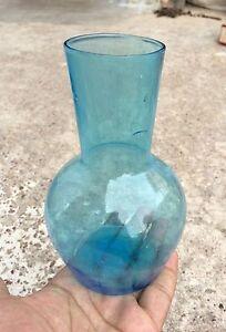 Vintage Rare Original Blown Glass Light Blue Color Bottle