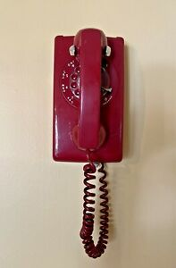 Vintage Western Electric Bell System Red Rotary Dial Wall Mount Telephone 6-67