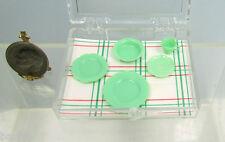 Dollhouse Miniature or Fairy Garden Plastic Jadeite Chrysnbon Dishes & Cup Set