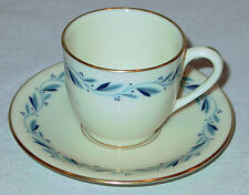 DISCONTINUED LENOX CHINA BLUERIDGE PATTERN DEMITASSE / DEMI CUP & SAUCER MINT