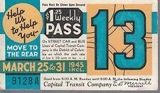 Trolly/Bus pass capital Transit Wash. DC--1945-----98