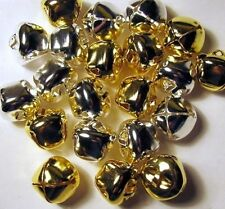 Metal CRAFT BELLS 200 Shiny JINGLE BELLS ~ 100 each SILVER + GOLD 20mm ~ 3/4""