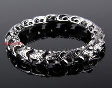 "8.66"" New Charming Men's Bracelet Stainless Steel 11mm Chain Silver Tone"