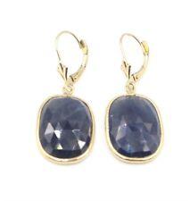 Sliced Sapphire Blue Earrings,14K Yellow Gold Leverbacks