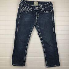 LA IDOL Womens 3 Capri Denim Jeans White Stitching Bling Flap Pockets L61
