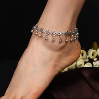 Silver Ankle Bracelet Womens Anklet Adjustable Chain Beach Bead Jewellery Foot