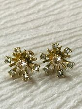 Vintage Small Light Blue & Clear Rhinestone Flower Goldtone Post Earrings for