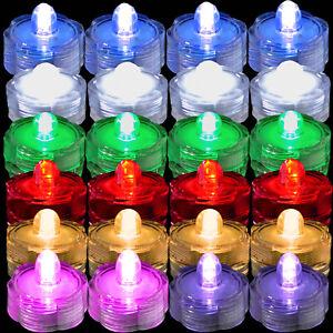 24 Waterproof Led Submersible Tea light Wedding Floral Pool Party Vase Decor