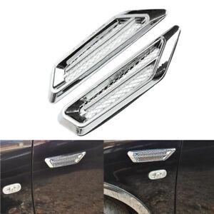 2Pcs Chrome Car SUV Air Flow Fender Side Vent Decoration Sticker Universal YZ