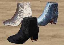 Ladies Ankle Boots Fashion Style Heel Crush Velvet K333  sizes 3-8