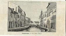 Stampe antiche COMACCHIO Via degli Uffici Ferrara 1891 Old antique print