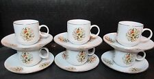 Oriental Style Flower Design 6 Demitasse Cups and Saucers