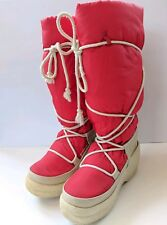 "Vintage 80's Nordica Red Snow Boots Women's Sz 8 Made in Italy 17"" Tall"